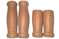 Madla kožená, hnědá, ručně prošívaná,VINTAGE,120mm