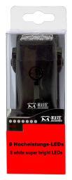 Světlo přední M-WAVE, 8super LED, říd. 22-31,8mm